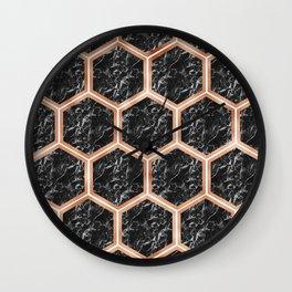 Black campari marble & copper honeycomb Wall Clock