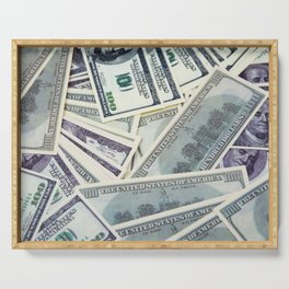 American money $100 banknotes Serving Tray