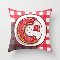 donut Throw Pillows featuring Donut by ArievSoeharto