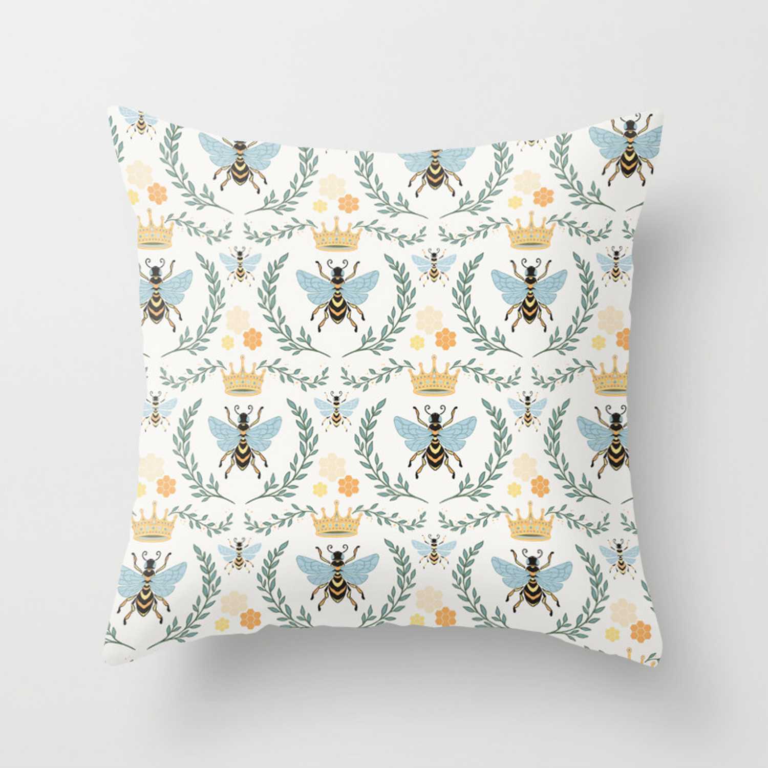 Queen Bee With Gold Crown And Laurel Frame Throw Pillow By Avenie Society6