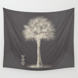 Palm tree - botanical silver illustration Wall Tapestry