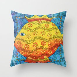 Patterned Fish Throw Pillow