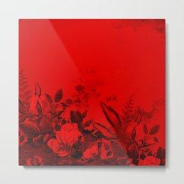 Red and Black Floral Metal Print