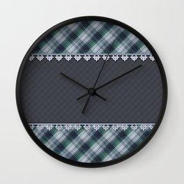 Blue plaid, plaid blanket, gray pattern, patchwork, folklore,  rustic style, elegant pattern, plaid Wall Clock