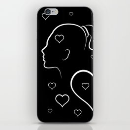Volumetric red heart cracked. Silhouette man and woman in a quarrel. iPhone Skin