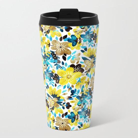 Happy Yellow Flower Collage Metal Travel Mug
