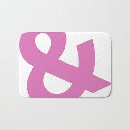 Ampersand - pink on white Bath Mat