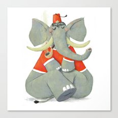 Elephant with Fez Smoking a Pipe Canvas Print