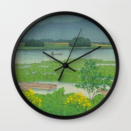 Kawase Hasui Vintage Japanese Woodblock Print Flooded Asian Rice Field Mountain Parallax Landscape Wall Clock