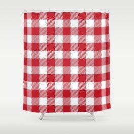 Buffalo Plaid - Red & White Shower Curtain