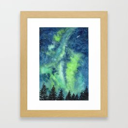 Green and Blue watercolor galaxy Framed Art Print