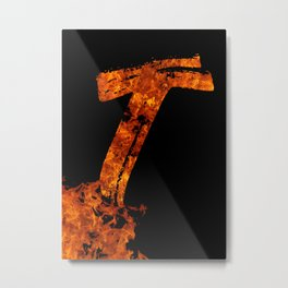 Burning on Fire Letter T Metal Print