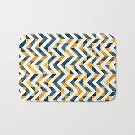 Chevron Oranges and Ink - Geometric Pattern Bath Mat