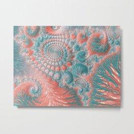 Abstract Living Coral Reef Nautilus Pastel Teal Blue Orange Spiral Swirl Pattern Fractal Fine Art Metal Print
