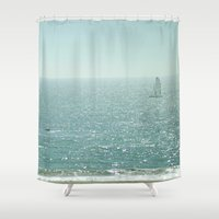 sailing Shower Curtains featuring Sailing by Catherine Holcombe