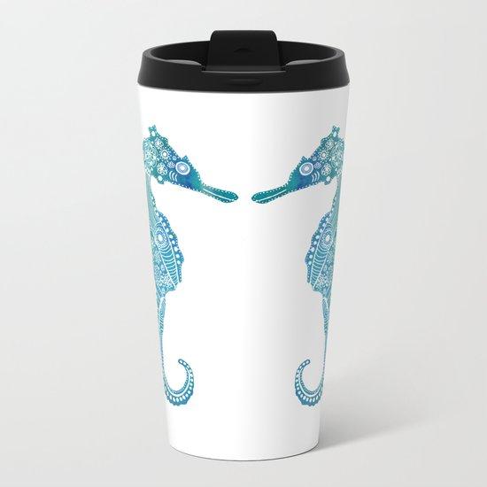 Seahorse Love Metal Travel Mug