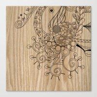 Tangle on wood Canvas Print