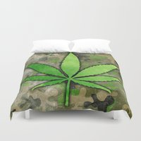 weed Duvet Covers featuring Weed Leaf by Spooky Dooky