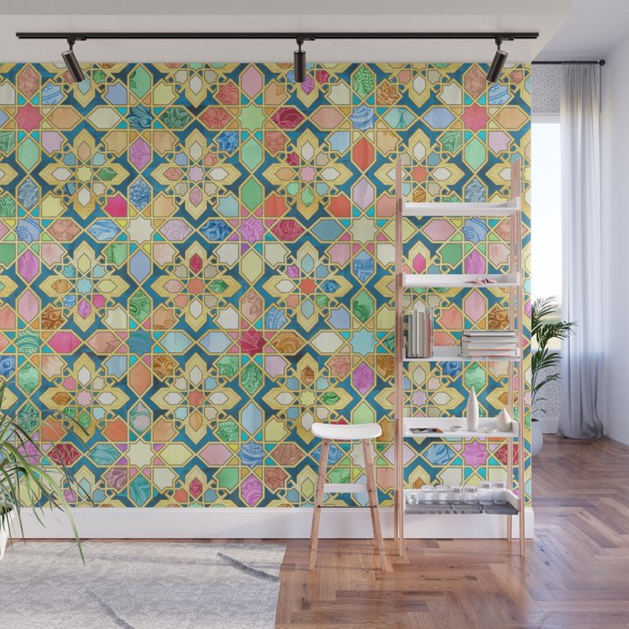 Gilded Moroccan Mosaic Tiles Wall Mural by micklyn Society6