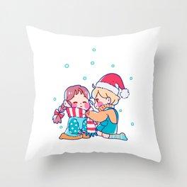 Christmas Winter Children snowball fight love Throw Pillow