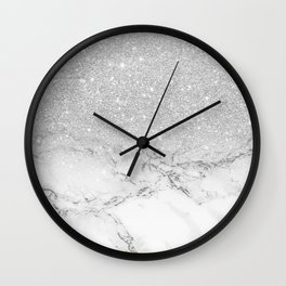 Modern faux grey silver glitter ombre white marble Wall Clock