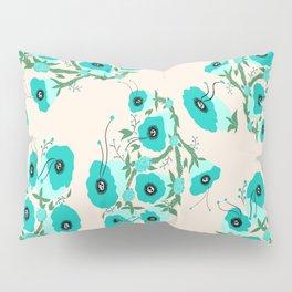 Teal Flowers Pillow Sham