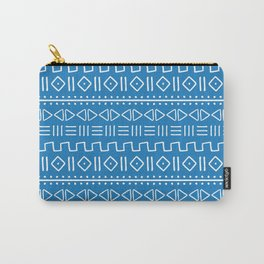 mudcloth white on blue Carry-All Pouch