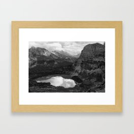 Grinnell Lake from the Trail No. 2 bw Framed Art Print
