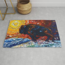 Wild the Storm Bison Painting by OLena Art Rug