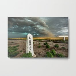 Welcome to Kansas - Railroad Sign and Storm Metal Print