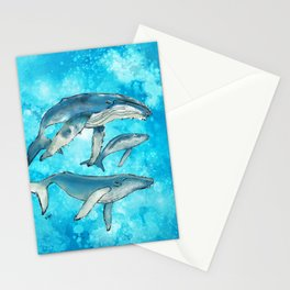 Humpback whale family Stationery Cards