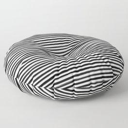 Skinny Stroke Horizontal Black on Off White Floor Pillow