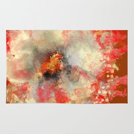 White Flower in Red Decoration Rug