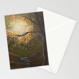 Moonlight Dance, tree and light art, moonlight, river valley Stationery Cards