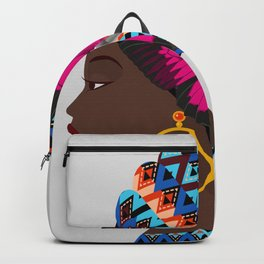 Colorful African woman  Backpack