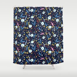 Ditsy Folk Dark Floral Pattern Shower Curtain