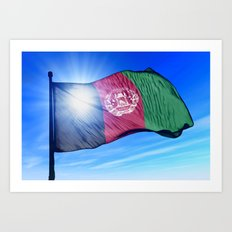Afghanistan flag waving on the wind Art Print