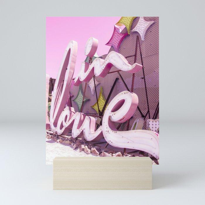 "Pink ""In Love"" Sign at the Neon Museum in Las Vegas, Nevada Mini Art Print"