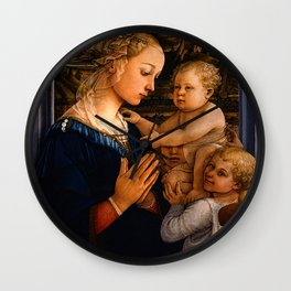 "Fra Filippo Lippi ""Madonna with child and two Angels"" Wall Clock"