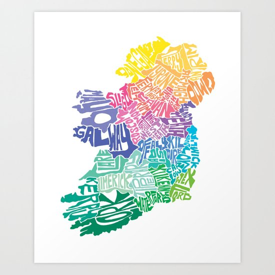 Typographic Ireland Art Print