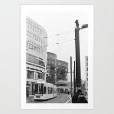 Trams Through Dusseldorf Art Print