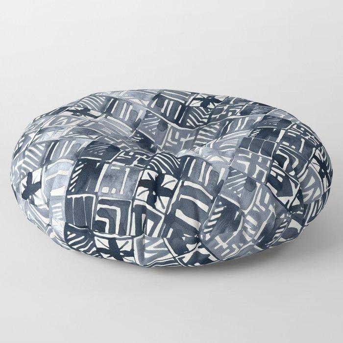 Simply Tribal Tiles in Indigo Blue on Lunar Gray Floor Pillow