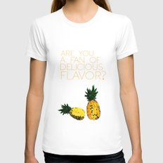 are you a fan of delicious flavor? .. psych tv show.. funny quote.. pineapple Womens Fitted Tee White SMALL
