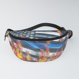 Blue Line In Flames Fanny Pack