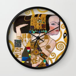 Expectations of the Heart portrait female form jewel painting by Gustav Klimt Wall Clock