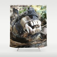 animal skull Shower Curtains featuring Animal Skull by CJ Thornburg