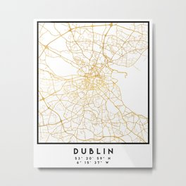 DUBLIN IRELAND CITY STREET MAP ART Metal Print