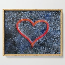 The love heart rises from the ashes and burns again Serving Tray