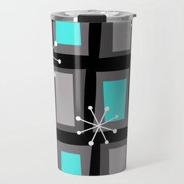 Mid Century Modern Art 'Wonky Doors' Turquoise Black Travel Mug