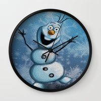 olaf Wall Clocks featuring Olaf by MandiMccl